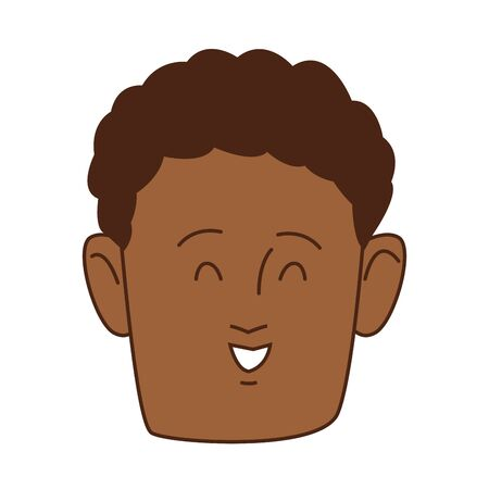 young afro man head avatar character vector illustration design