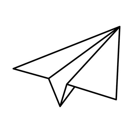 paper airplane flying flat style icon vector illustration design