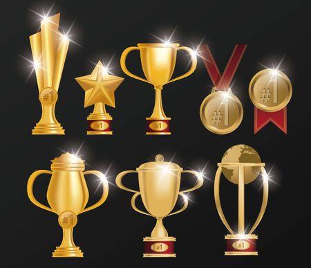 set of trophies and medals awards poster vector illustration design