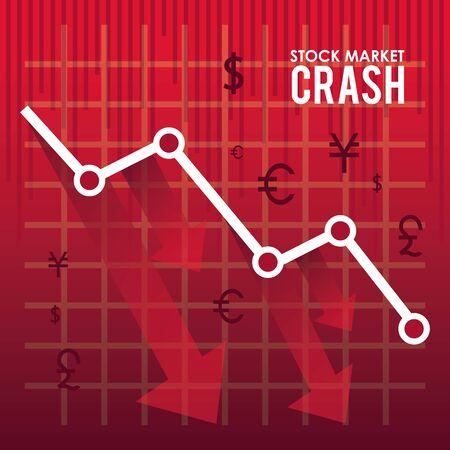 stock market crash with arrows down vector illustration design 向量圖像