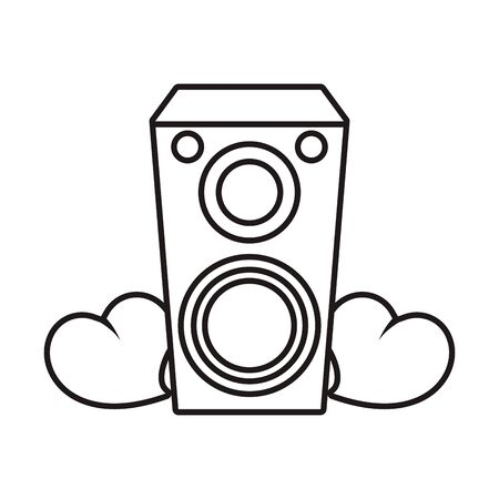 speaker sound audio with hearts love vector illustration design 向量圖像