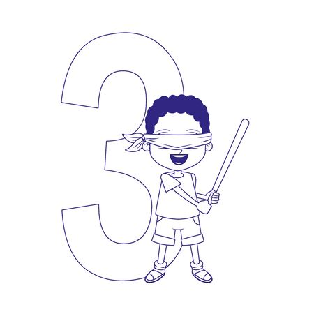 number three and cartoon boy over white background, flat designvector illustration