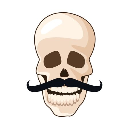 skull with mustache mexican icon vector illustration design Vectores