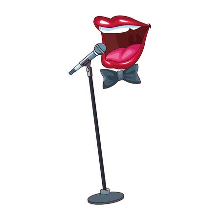 microphone stand and comedian mouth icon over white background, colorful design, vector illustration