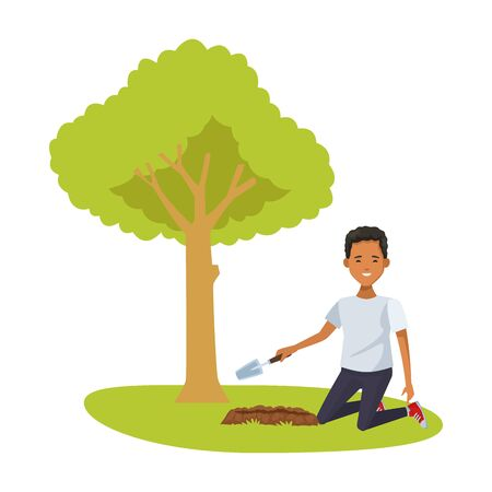 environmentalist man planting with spatule character vector illustration design