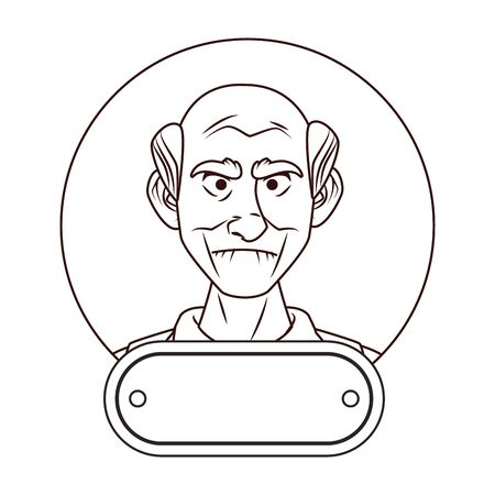 old grandfather character with ribbon frame vector illustration design Illustration