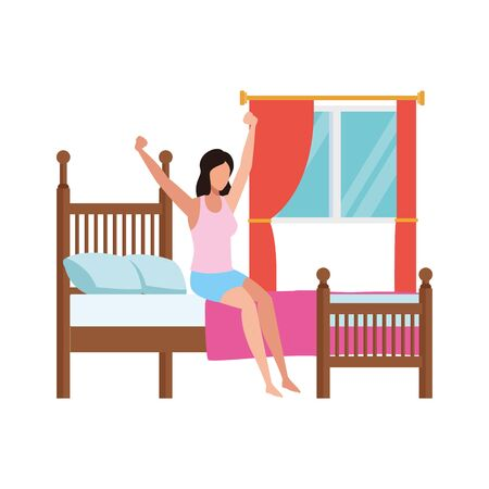 woman sitting on bed and Stretching Herself After Sleep over window and white background, vector illustration 向量圖像