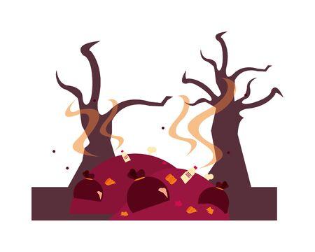 forest dry and garbage global warming scene vector illustration design