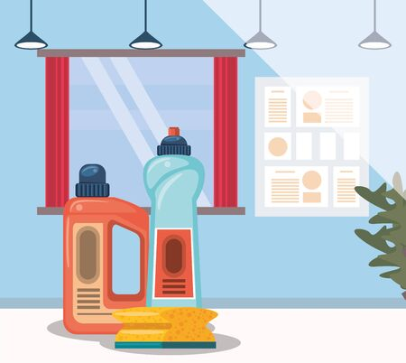 house room with housekeping bottles products vector illustration design