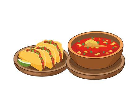 Tacos y, a menudo, deliciosa comida mexicana, diseño de ilustraciones vectoriales Ilustración de vector