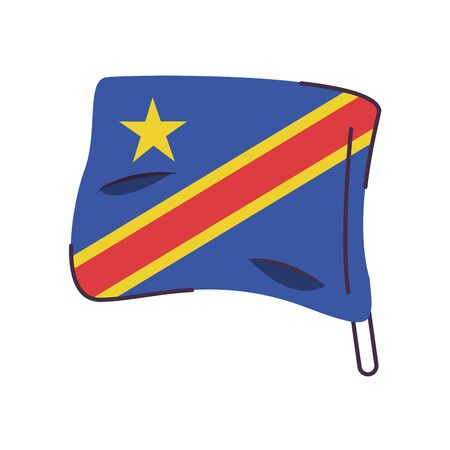 congo dr flag country isolated icon vector illustration design