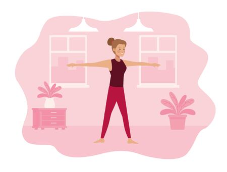 young woman practicing exercise in the house scene vector illustration design Иллюстрация