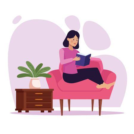 woman in livingroom reading book scene vector illustration design Ilustração