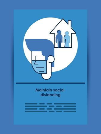 flyer with covid19 recommendation of maintain social distancing vector illustration design