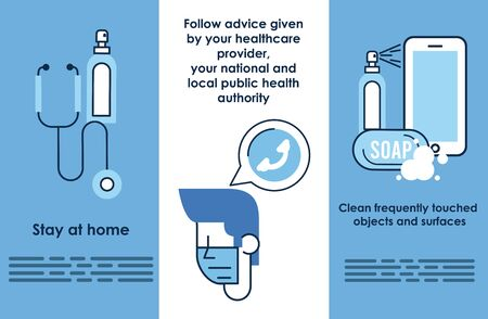 flyer with covid19 prevention recommendations vector illustration design