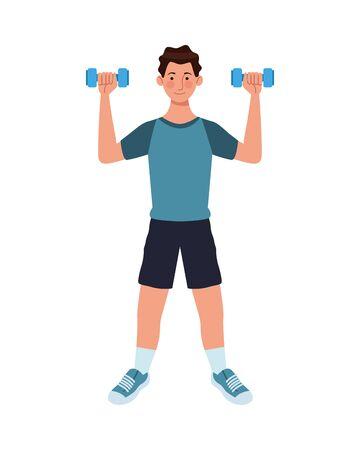 young man athlete lifting dumbbells vector illustration design
