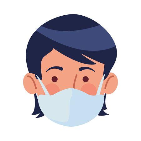 man using face mask head character vector illustration design