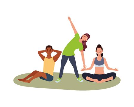 interracial people athletes practicing exercise characters vector illustration design