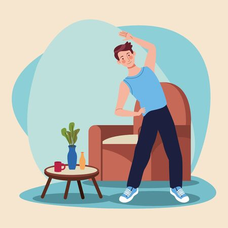 man practicing exercise in the house vector illustration design