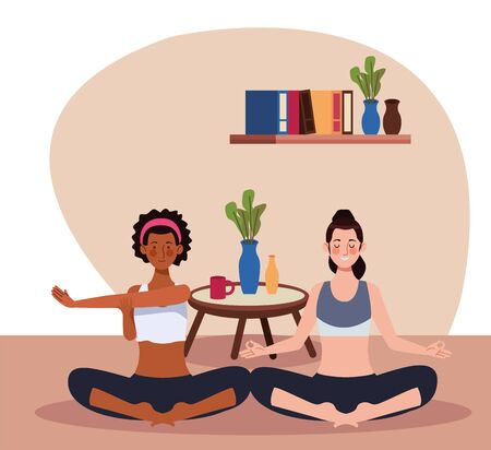 interracial women practicing yoga in the house vector illustration design