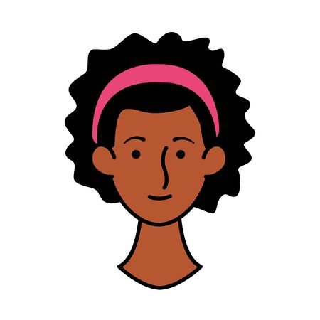 afro young woman head character icon vector illustration design