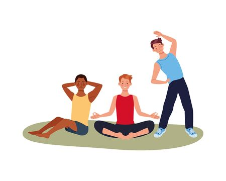 interracial men athletes practicing exercise characters vector illustration design