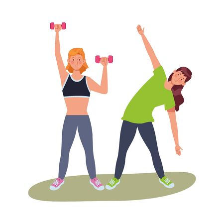 young girls athletes practicing exercise characters vector illustration design