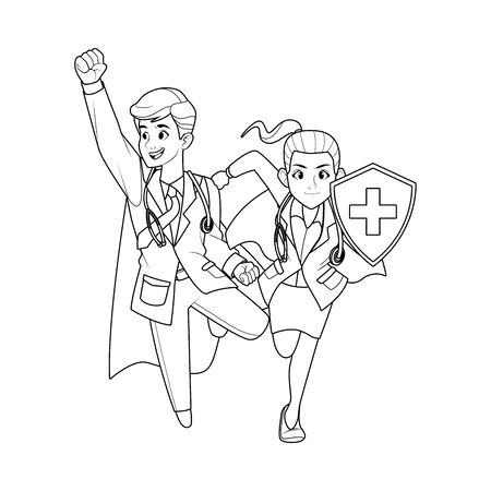 super doctors couple with shield characters vector illustration design