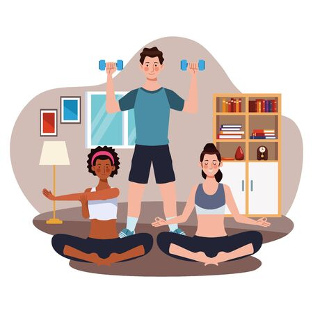 interracial people practicing exercise in the house vector illustration design
