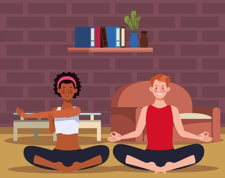 interracial couple practicing yoga in the house vector illustration design