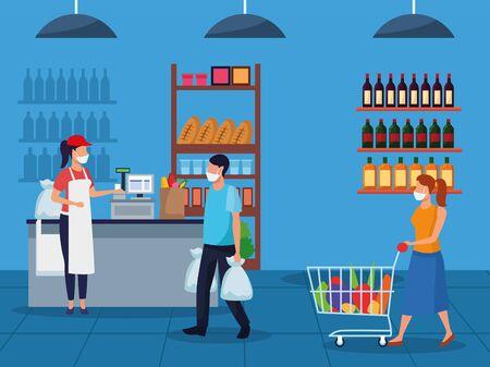 couple and worker using face masks in supermarket vector illustration design