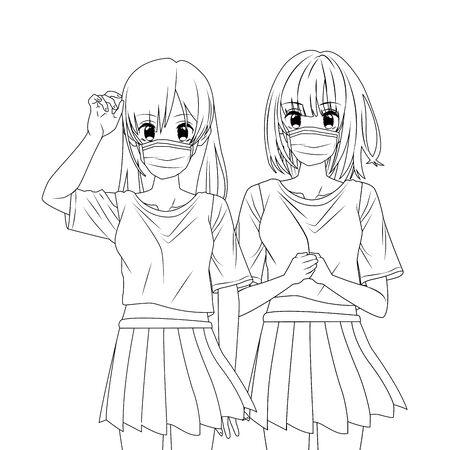 girls using face masks anime characters vector illustration design