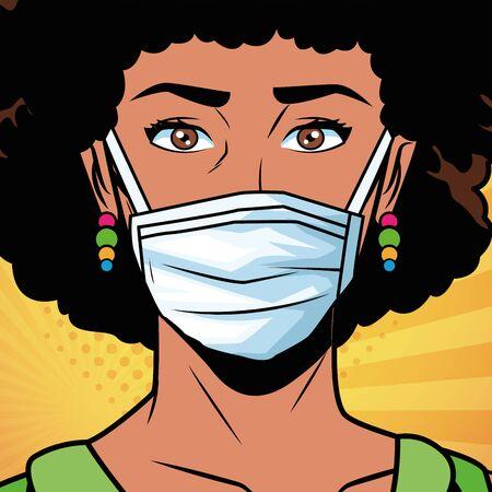 femme afro utilisant un masque facial pour la conception d'illustration vectorielle de style pop art covid19