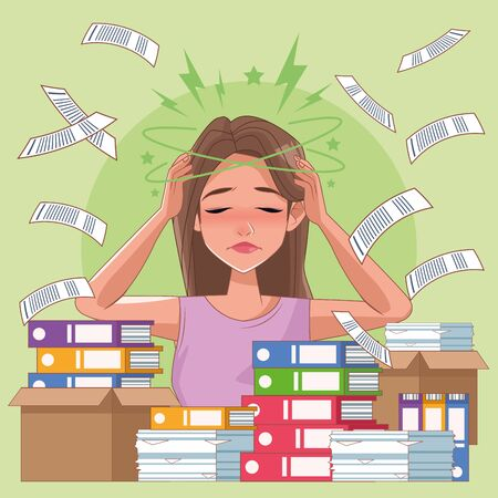woman with headache stress symptom and pile documents vector illustration design