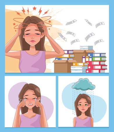 group of women with stress symptoms and pile documents vector illustration design