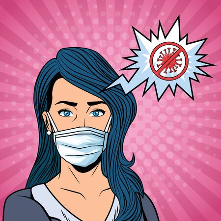 woman using face mask and stop covid19 message vector illustration design