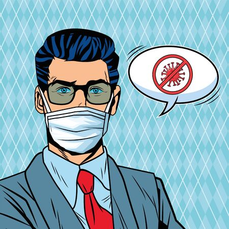 businessman using face mask and stop covid19 message pop art style vector illustration design