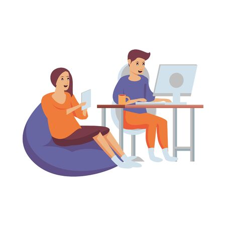 couple using computer and tablet work at home vector illustration design