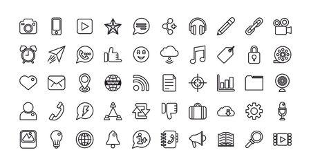 bundle of social media set icons vector illustration design Vector Illustration