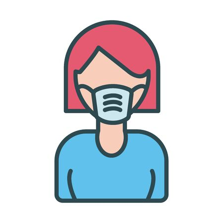 woman using face mask fill style icon vector illustration design