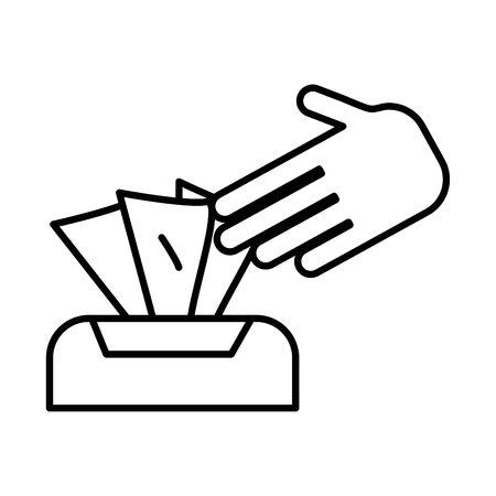 damp cloths box line style icon vector illustration design