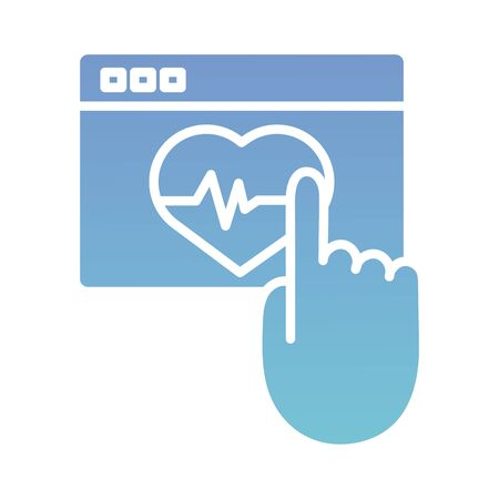 webpage with heart cardio health online silhouette gradient style vector illustration design