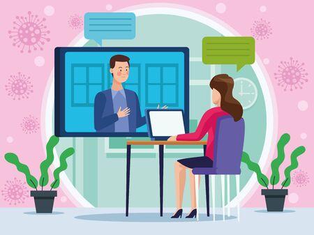 businesswoman in meeting online reunion vector illustration design