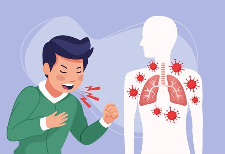 young man sick coughing with covid19 symptom vector illustration design