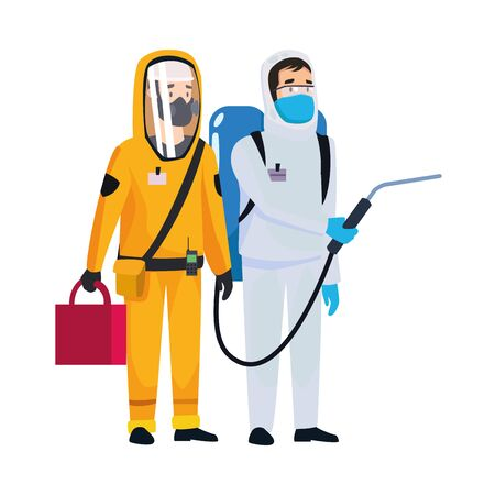 biohazard cleaning persons with sprayer characters vector illustration design