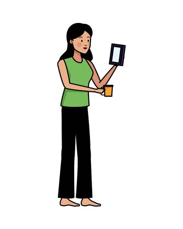 young woman using smartphone and drink coffee vector illustration design