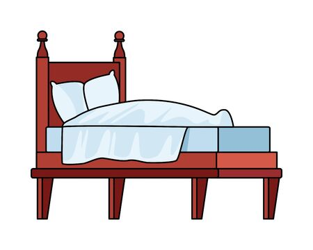 bed with pillows isolated icon vector illustration design