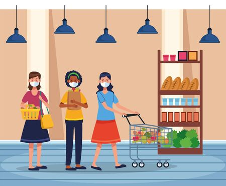 women shopping in supermarket with face mask vector illustration design