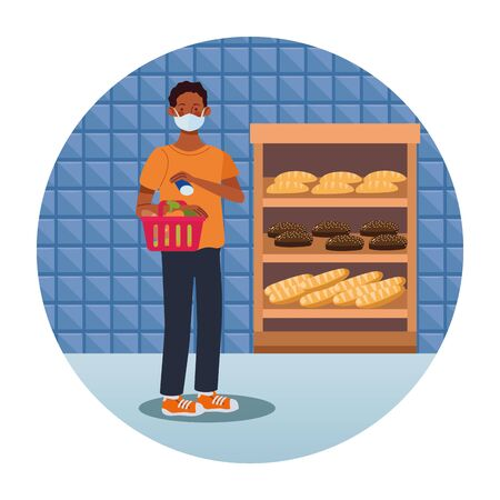 afro man shopping in supermarket with face mask vector illustration design