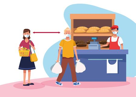 couple shopping in supermarket with face mask and salesman vector illustration design